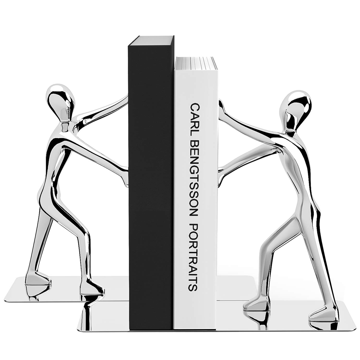 MROCO Heavy Duty Zinc Alloy Man Decorative Bookends, Non-skid, Metal Book Ends for Shelves, Book Support, Book Stopper for Books, Movies, Magazines, Video Games, 7.28 x 6.1 in, Silver, 1 Pair/2 Pieces