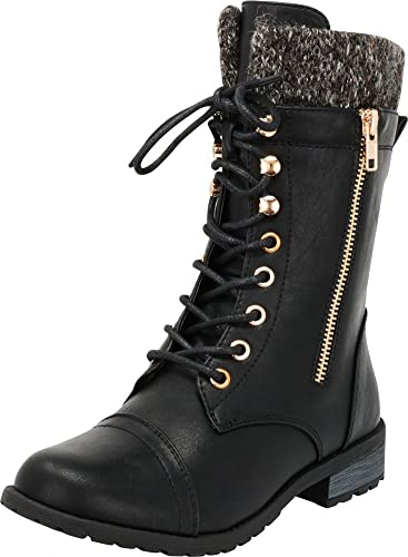 Cambridge Select Womens Combat Military Round Toe Lace Up Knit Sweater Boot