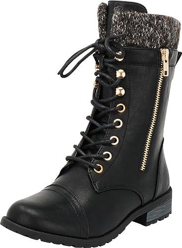 50a2e9a07e115 Cambridge Select Women s Round Toe Military Lace Up Knit Sweater Combat  Boots