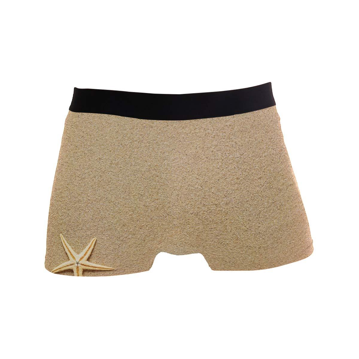 Jereee Beach Sand Shells Starfishes Mens Underwear Soft Polyester Boxer Brief for Men Adult Teen Children Kids S
