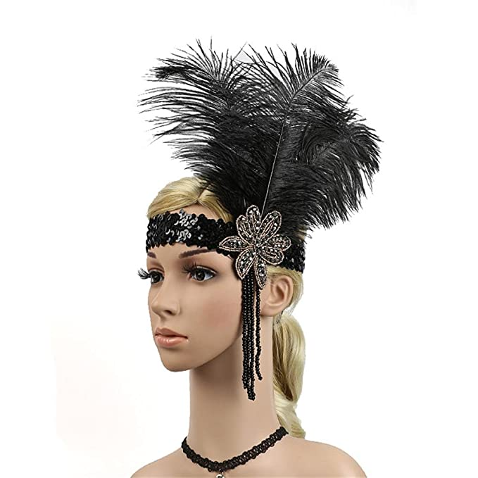 Zhisheng You Vintage Gatsby Wedding Headband 1920s Flapper Costumes  Accessories Feather Headpiece (Black) 2753bacdc33