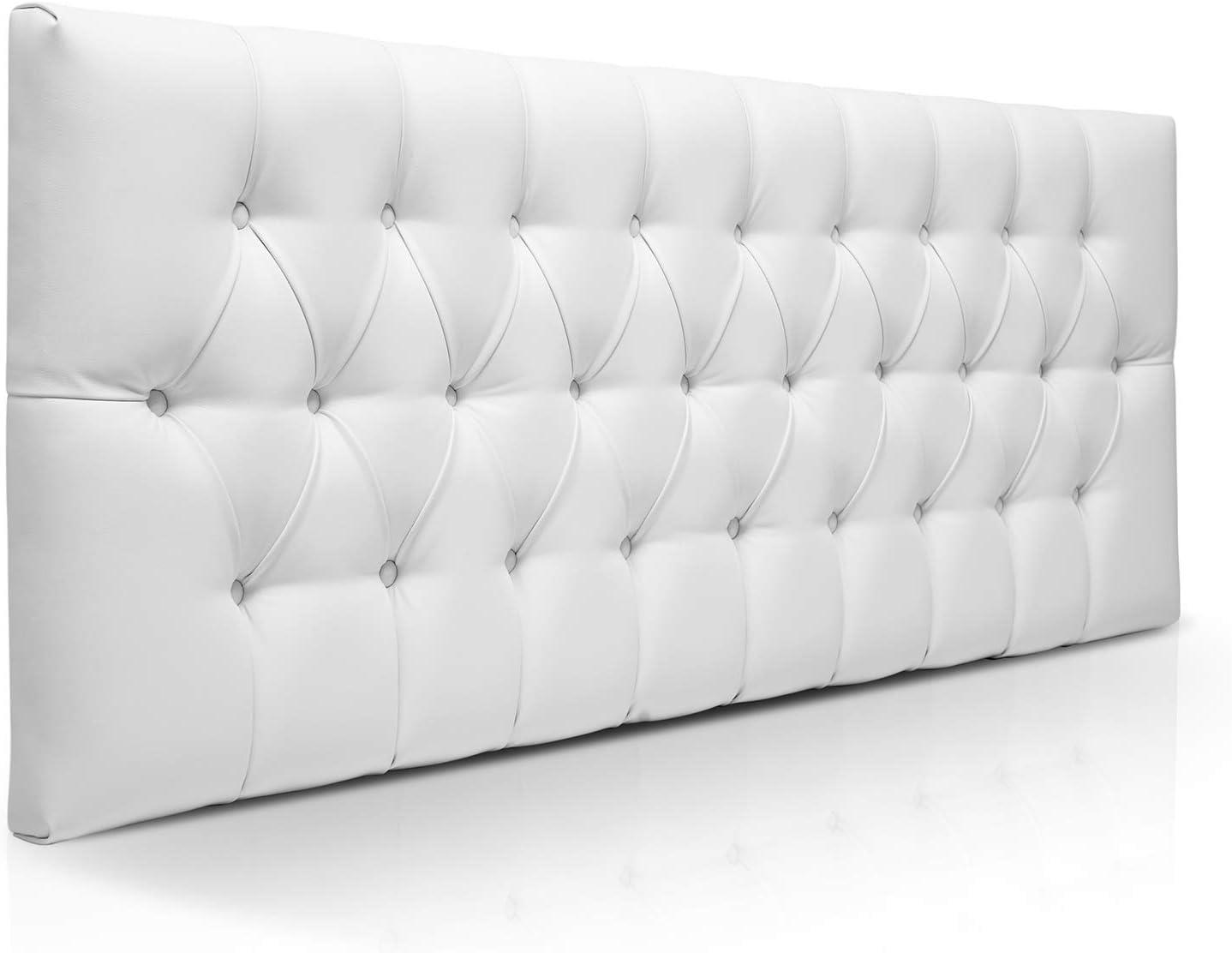 SUENOSZZZ-ESPECIALISTAS DEL DESCANSO Cabecero de Cama de 90 Modelo Copenhague, Color Blanco 100x57 | Cabezal Madera de Gran Acolchado con capitoné tapizado en Polipiel