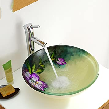 ROUFUW Bad Waschbecken,Blumenmuster Gehärtetem Glas Badezimmer Waschbecken  Waschbecken Wasserhahn Set