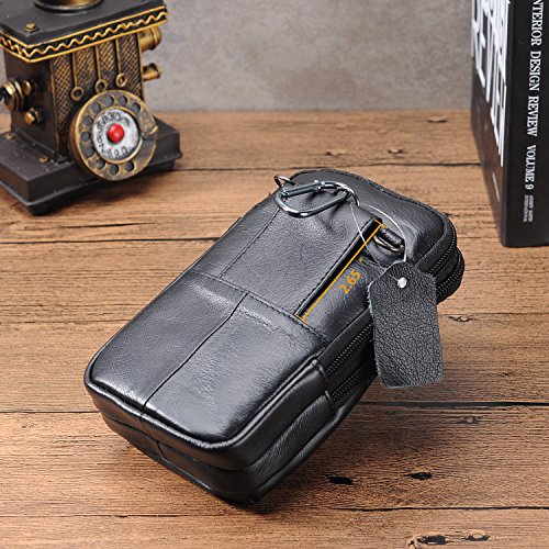 Belt Pouch Bag Leather iPhone 6/7 Plus Holster Case with Belt Loop Men Travel Belt Bag Small Wallet Purse With Shoulder Strap Waist Bag Crossbody iPhone Pouch Fanny Messager Pack+Hwin Keychain