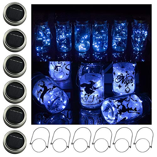 Solar-Powered Mason Jar Light, 6 Pack 20 Led Fairy String Lights Star Firefly Jars Lids Lights,6 Hangers Included(Jar Not Included), Decor Pathway Patio Garden Solar Lanterns Table Lights(Cold White)