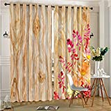 Thermal Insulated Blackout Outdoor Curtain Bouquet of Wild Daisy Beauty in Theme Image Multi Drape for Patio(2 Panels, 84″ x 84″)