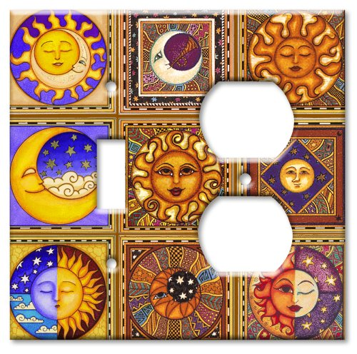 Celestials Theme Wall Plate - Double Gang Combo - Toggle/Outlet