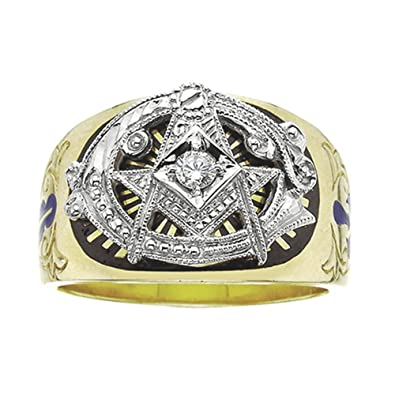 79fa6fbcada70 Amazon.com: 10k Yellow Gold 3rd Degree Masonic Blue Lodge Diamond ...