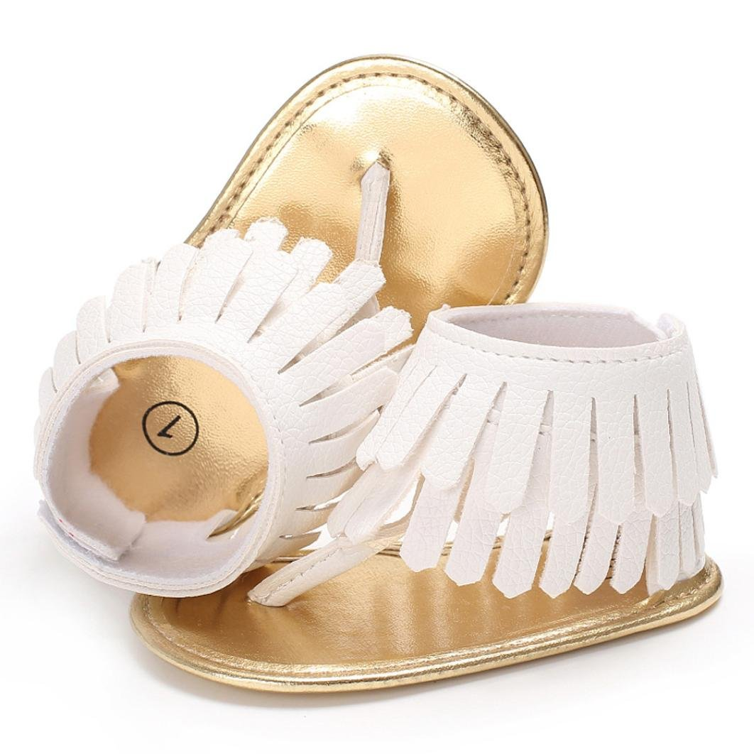 Voberry Toddler Baby Girls Tassel Sandals Soft Soled Anti-slip Fringe Footwear Shoes (0-6 Month, White 1) by Voberry (Image #4)