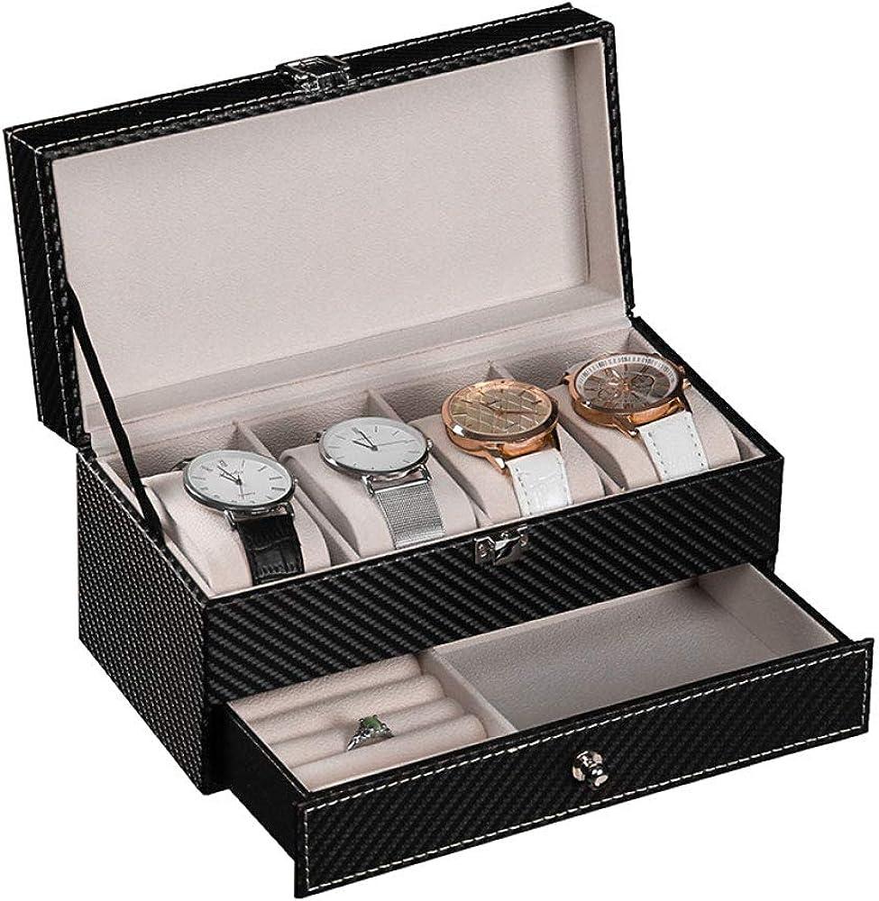 Caja Estuche de PU para Relojes Organizador joyero de Joyas para Guardar Relojes con 6 Compartimentos: Amazon.es: Relojes