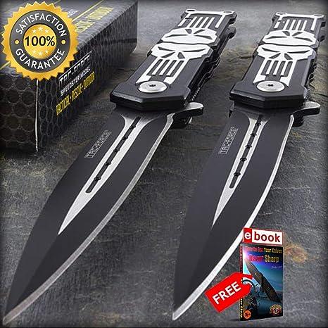 Amazon.com: 2 cuchillos tácticos de plegado de 8.0 in de ...