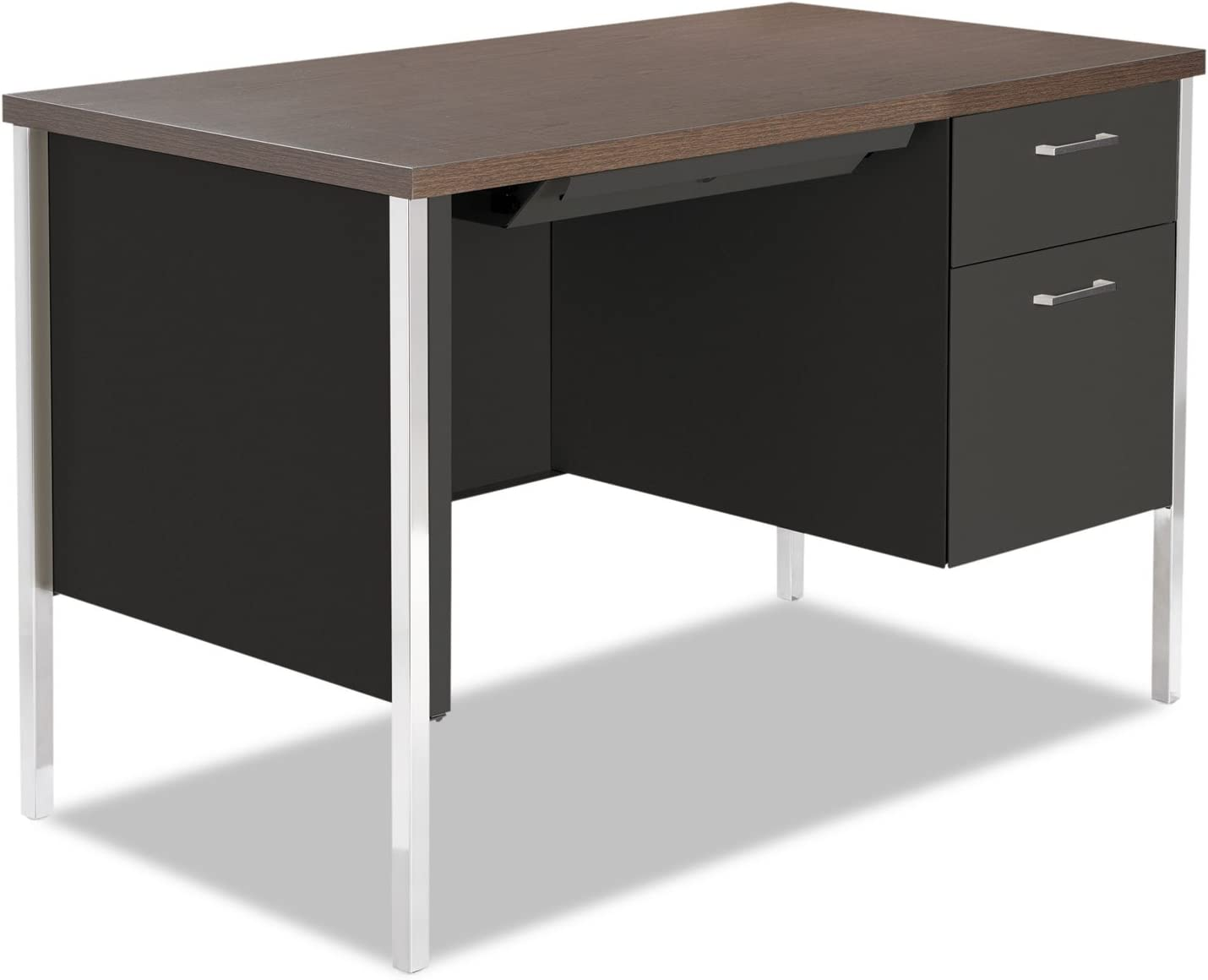 Alera SD4524BW Single Pedestal Steel Desk, Metal Desk, 45-1 4w X 24d X 29-1 2h, Walnut Black