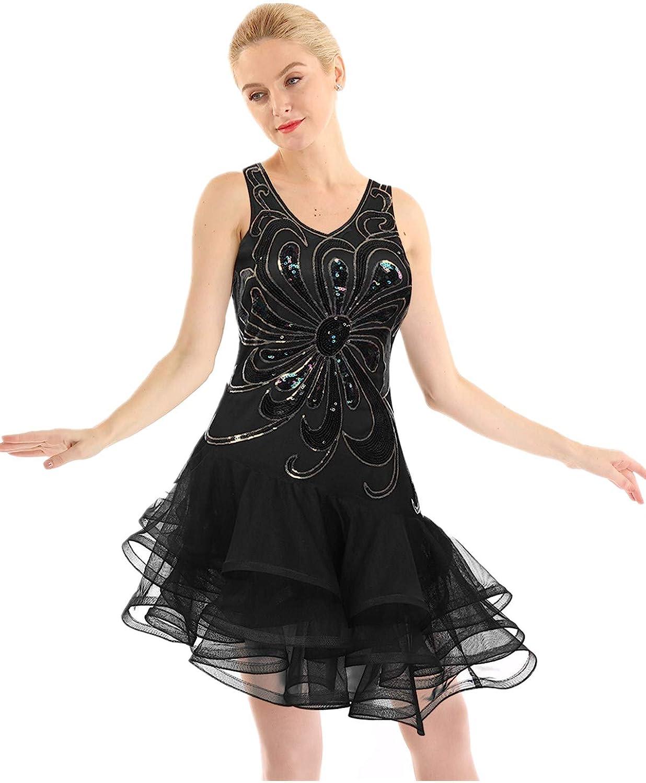 FEESHOW Women Latin Dance Dress Sequin Salsa Cha Cha Tango Ballroom Modern Rumba Dancewear