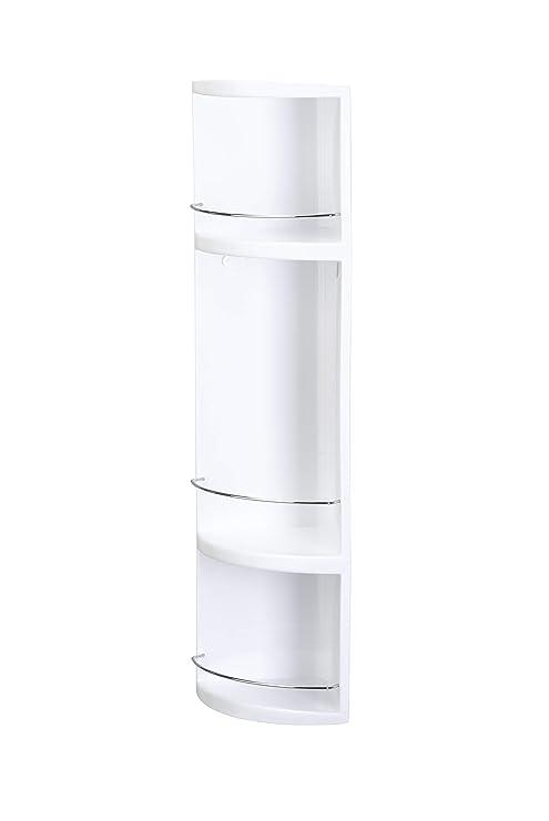 Croydex Compact Badezimmer-Eckregal 3-stöckig, aus Kunststoff, mit  Abgießlöchern, 70 x 16 x 16 cm, Weiß