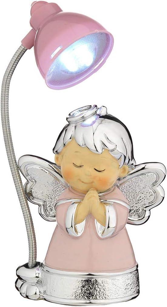 Lampara (mini) Angelito de la Guarda,para mesita de noche,con baño plateado.Color Rosa