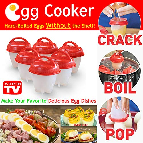 Egglettes Egg Cooker Hard Boiled Eggs Without the Shell, Non Stick Silicone Egg Poachers(6 pack Cups) by DUT