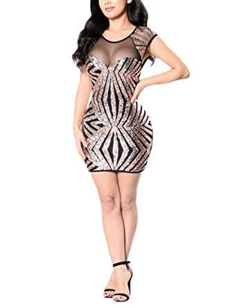 eacbcbd648e FidgetGear Women Dress Elegant Mesh Stitching Sequins Slim Skirt Retro  Performance Dress Gold S