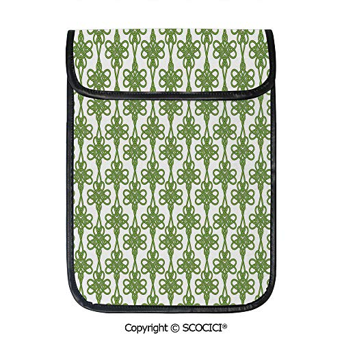 SCOCICI Tablet Sleeve Bag Case,Entangled Clover Leaves Twigs Celtic Pattern Botanical Filigree Inspired Retro Tile Decorative,Pouch Cover Cases for iPad Pro 12.9 in and Any Tablet