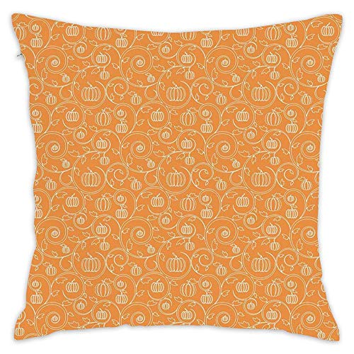 Wbsdfken Harvest,Pattern with Pumpkin Leaves and Swirls on Orange Backdrop Halloween Inspired,Orange White (2) Pillow Covers 18 x 18 Inch