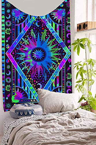 DBLLF Tie Dye Blue Burning Sun Tapestry Celestial Sun Moon Planet Bohemian Tapestry Tapestry Tapestry Wall Hanging Boho Tapestry Hippie Hippy Tapestry Beach Coverlet Curtain (40×60In)DBLX023 ()