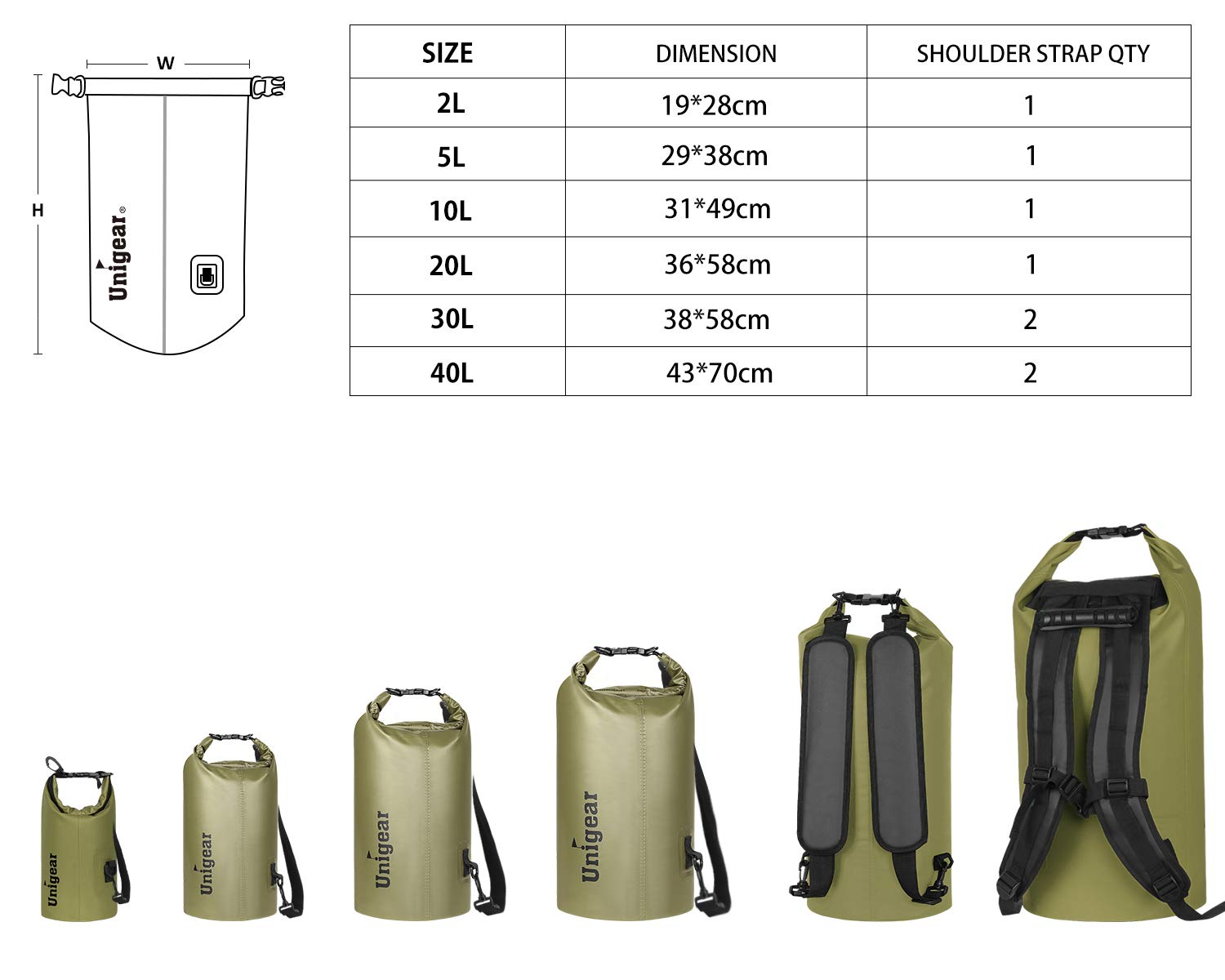78e38a0eac1 Amazon.com   Unigear Floating Waterproof Dry Bag 600D 2L 5L 10L 20L 30L 40L