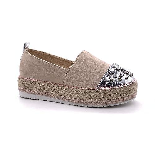 Angkorly - Zapatillas Moda Alpargatas Slip-on Plataforma Mujer Strass Joyas Cuerda Tacón Ancho: Amazon.es: Zapatos y complementos