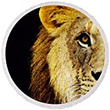 Pixels Round Beach Towel With Tassels featuring ''Lion Art - Face Off'' by Sharon Cummings