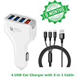 Rapid Car Charger with 7A current and capacity of 35Watt It has 4 USB ports for all the iOS, Andriod and Type-C devices for every Car and equipped with the Qualcomm 3.0 charge technology (White)