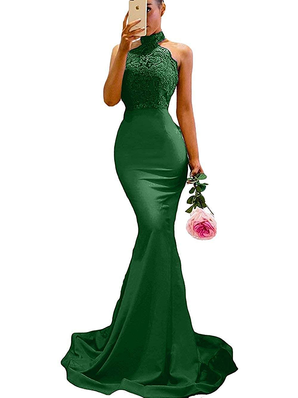 Dark Green Lnxianee Women's Halter Mermaid Prom Dresses 2019 Long Formal Evening Gowns
