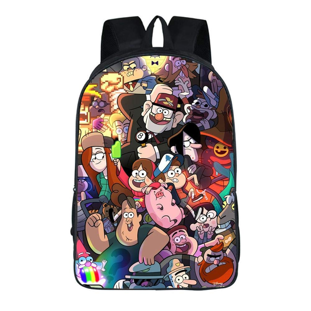 YHJ backpack Mochila Escolar para Niños Mochilas Impresas 3D Cartoon Gravity Falls para Niños Y Niñas 13-16.5 Inch