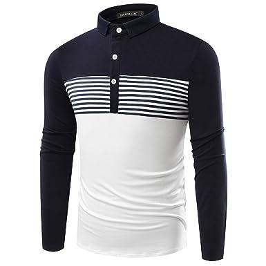 Honghu Hombre Camiseta Mangas Largas Casual Mens Stylish Polo T ...