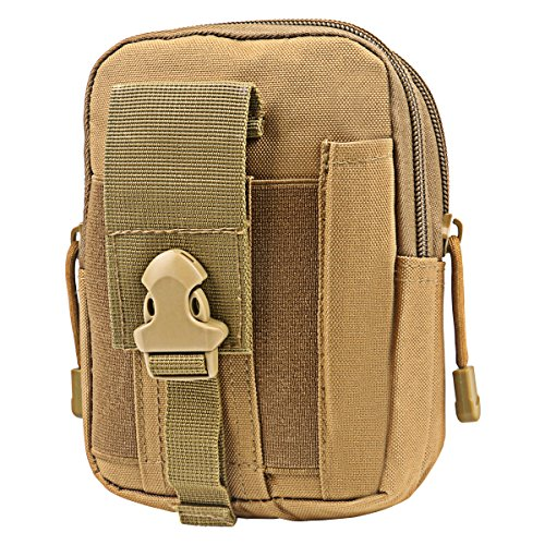 Zeato Tactical Molle Pouch EDC Utility Gadget Belt Waist Bag Pocket Organizer with Cell Phone Holster Holder for iPhone X 8/8 Plus 6/6 Plus 7/7Plus Samsung Galaxy S9 S8 S7 S6 LG HTC and More (Khaki)