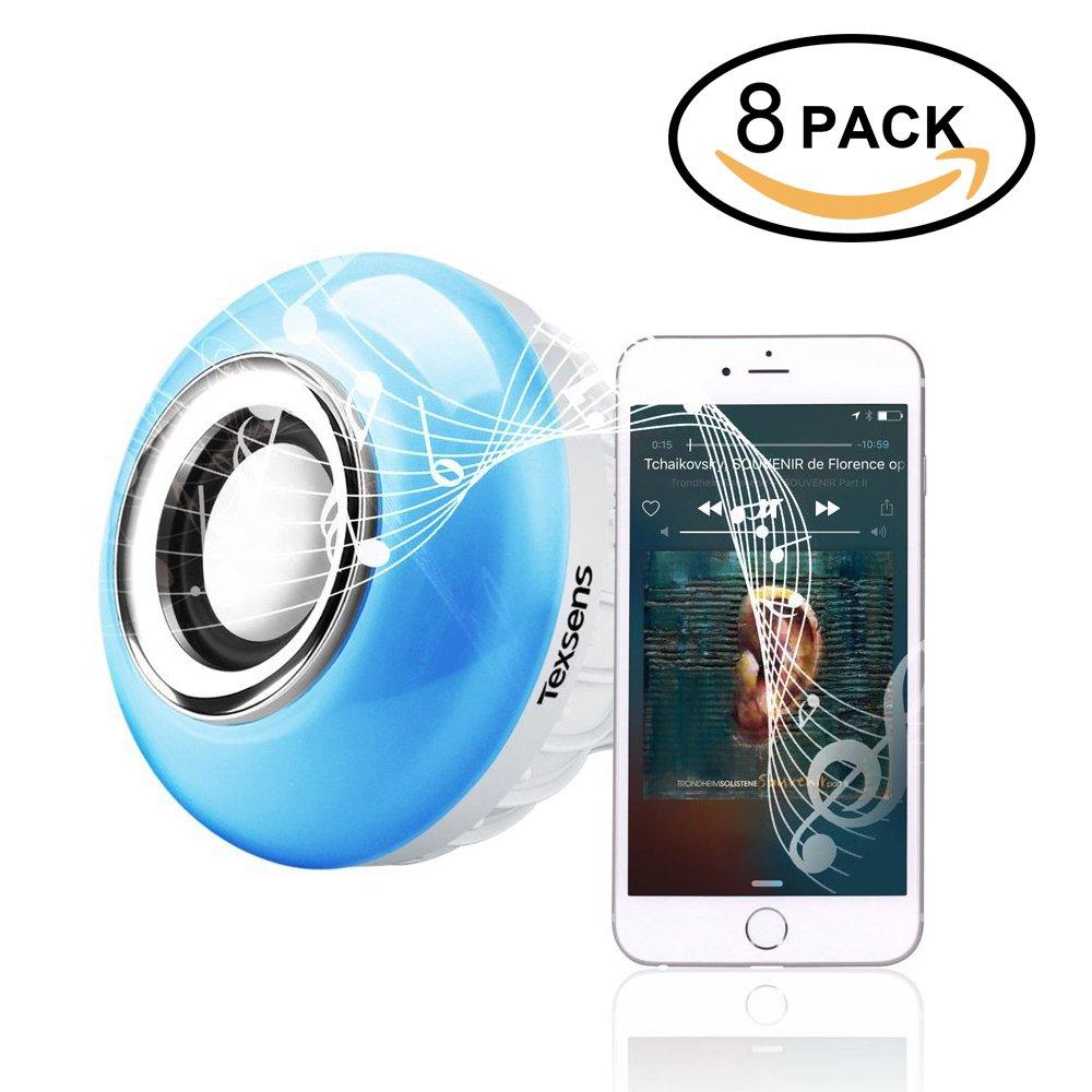 Texsens LED Light Bulb, Bluetooth Speaker Music Lightbulbs, 24 Keys Remote Control, 6W E27 RGB Changing Lamp Wireless Stereo Audio