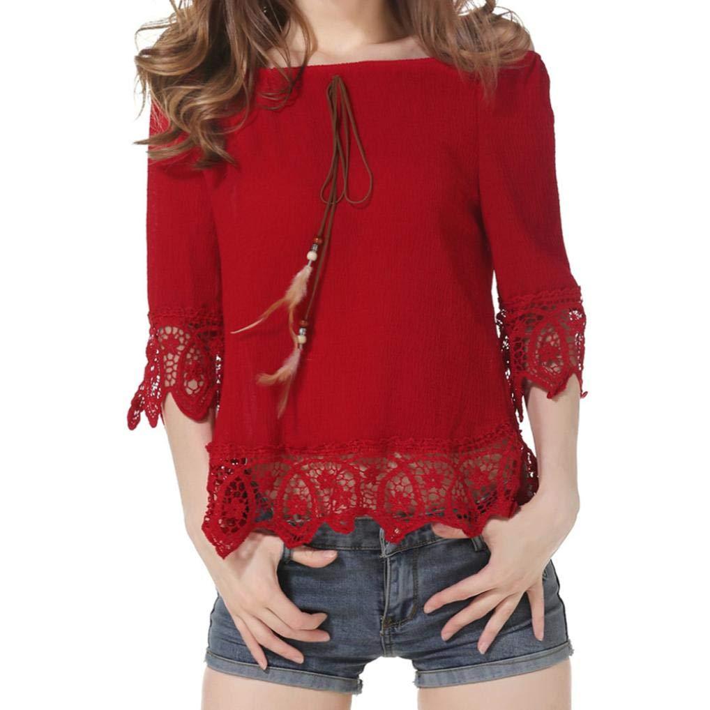 Nevera Women Lace Fashion Chiffon Solid Half Sleeve Blouse Tops Shirts (XL, Z-Orange) (L, Red)