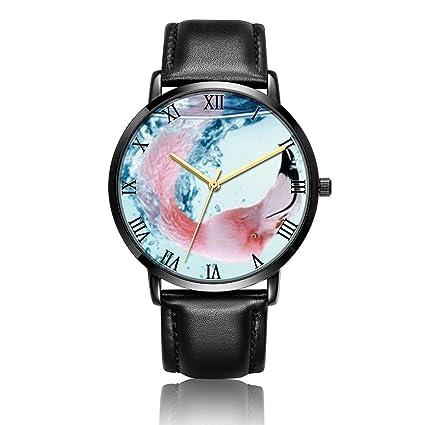 ONSPACE Unisex mujeres Classic negro relojes, diseños de moda personalizada acero inoxidable con PU Correa