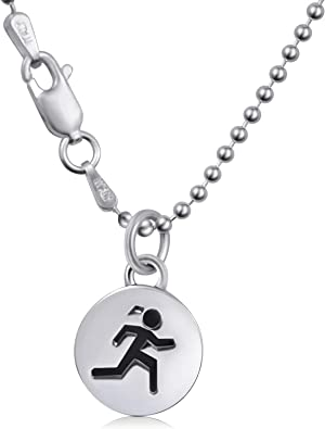 Amazon Com Sporty Gal Round Runner Necklace 16 Bead Chain 925 Sterling Silver Inspired Endurance Girl S Women S Sports Marathon Triathlon Running Track Charm Disc Necklace Ready For Gift Giving Jewelry