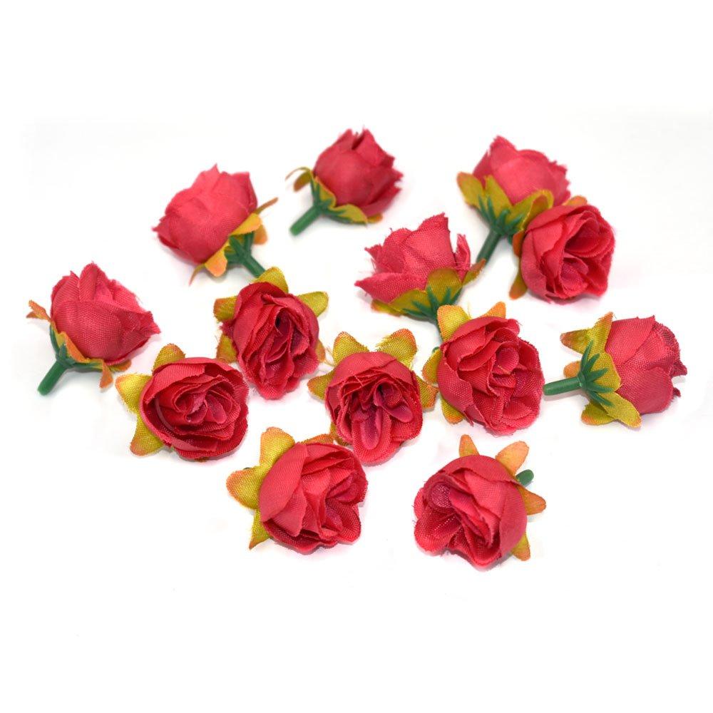 yedream人工シルクバラフラワーヘッド、人工花のヘッドファブリック花柄の供給ウェディングケーキデコレーションアクセサリー1.18インチ(50個、ローズ) B07CYMD8PZ