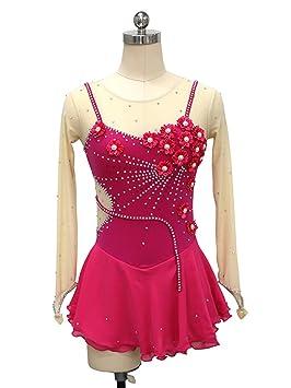 Heart&M Vestido de Patinaje artístico para niñas, Traje de competición de Patinaje Sobre Hielo Hecho