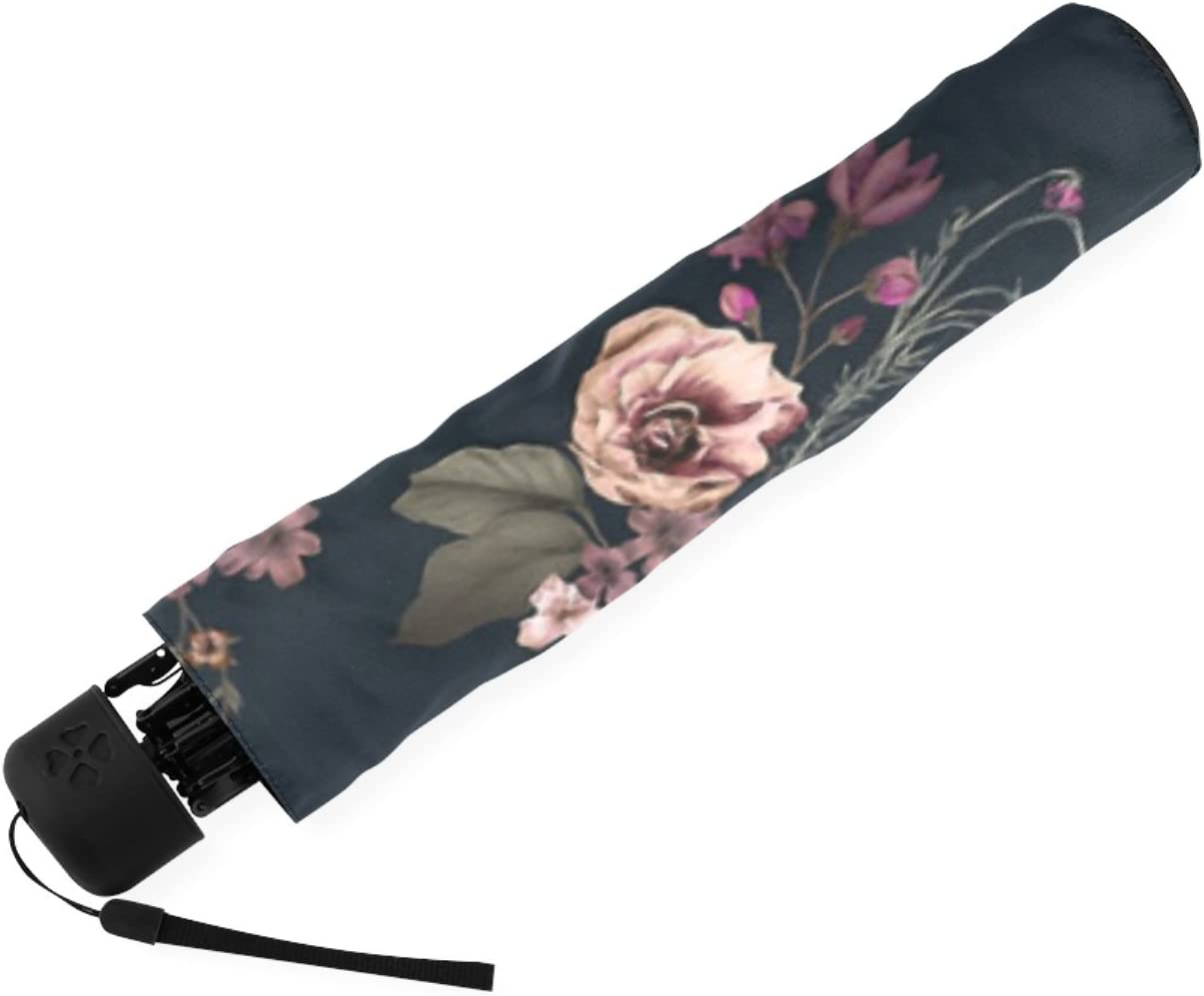 Personalized Japanese Boho Floral Foldable Raining Umbrella