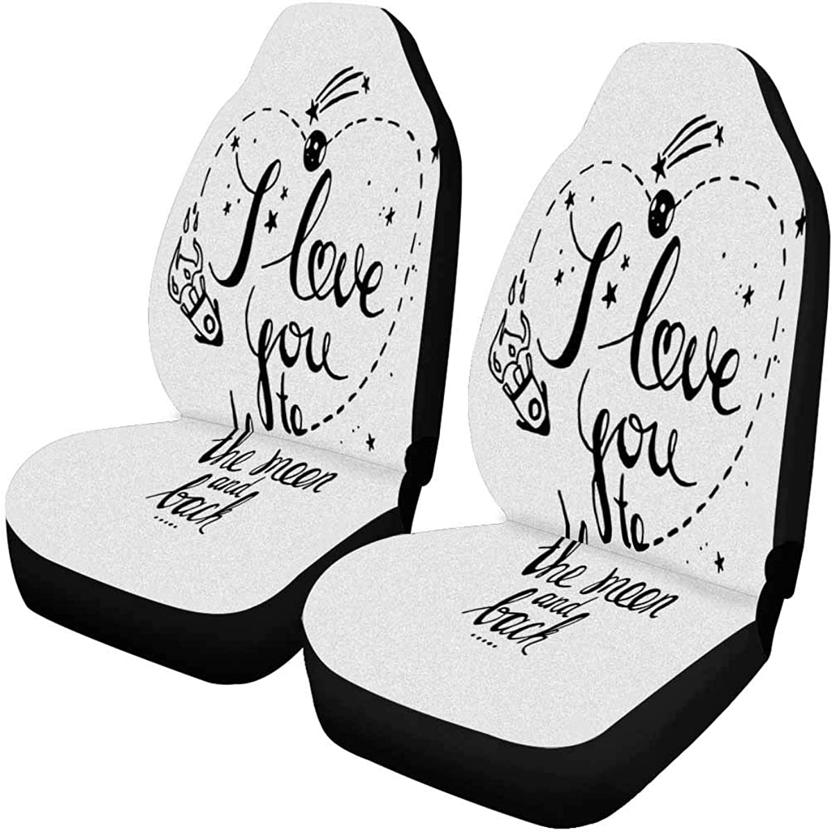 INTERESTPRINT Full Moon Phases Car Seat Cover Front Seats Only Full Set of 2 SUV Truck or Van Bucket Seat Protector Car Seat Cushions for Car