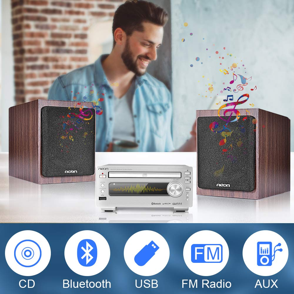 Bluetooth Stereo System - Music Streaming System w/ CD Players, FM Radio, MP3, SD Slot, USB, Remote Control, AUX, Headphone Jack, HiFi Digital Audio System Perfect for Home Cinema, MCB1533 by Neon (Image #2)