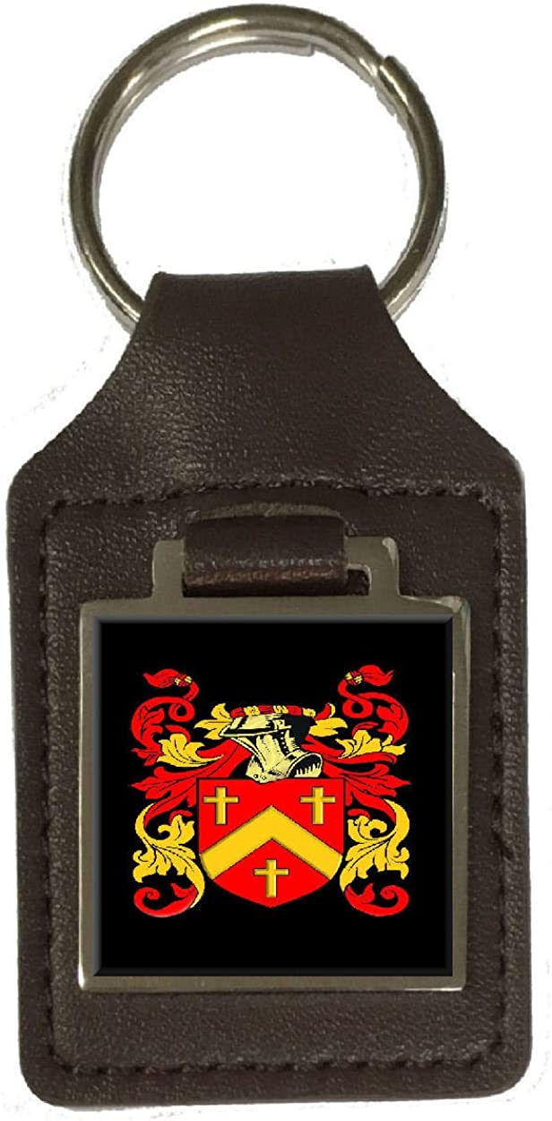 Austin Heraldry Surname Coat Of Arms Brown Leather Keyring Engraved