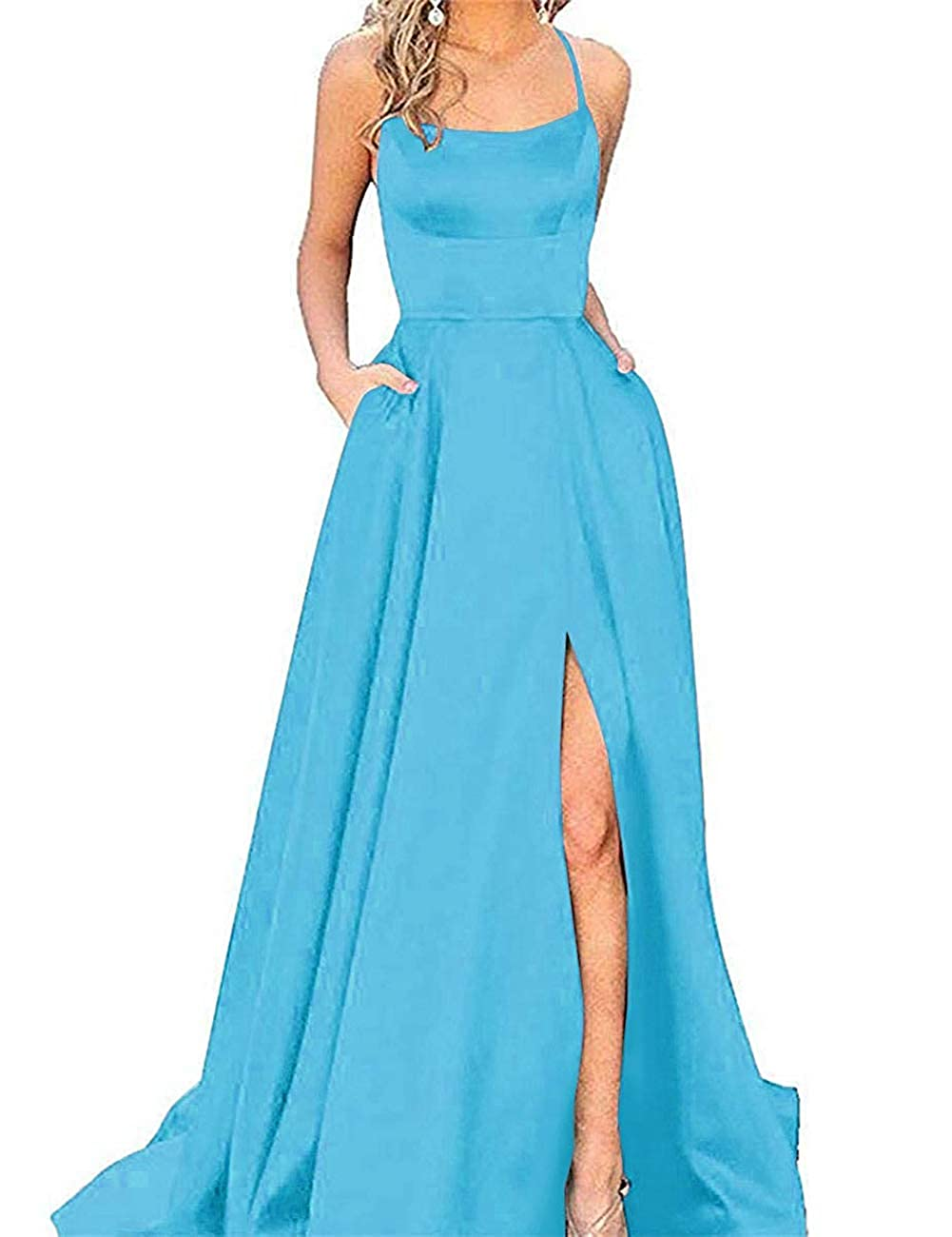 bluee APXPF Women's Spaghetti Straps Satin Prom Dress Long Split ALine Formal Party Gown with Pockets