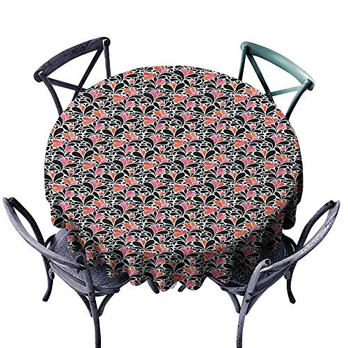 ScottDecor Patio Round Tablecloth Jacquard Tablecloth Abstract,Paisley Style Pattern of Water Splashes Ombre Motifs with Floral Influences, Coral Pink Black Diameter 50
