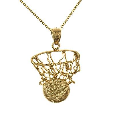 14 K Amarillo Oro Deportes Encanto Colgante, 2d Swoosh baloncesto ...