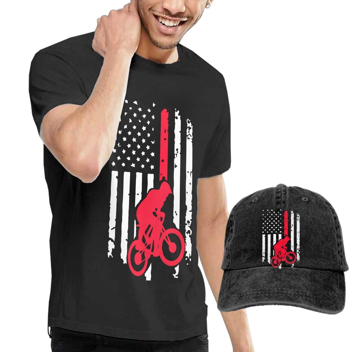WWTBBJ-B BMX Bike American Flag Adult Mens Cool T Shirts and Sport Jean Hat