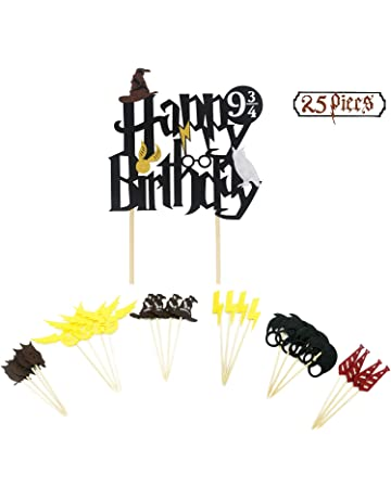 Harry Potter inspirado Cupcake Toppers Party Double Sided Glitter Black Harry Potter inspirado Happy Birthday Cake