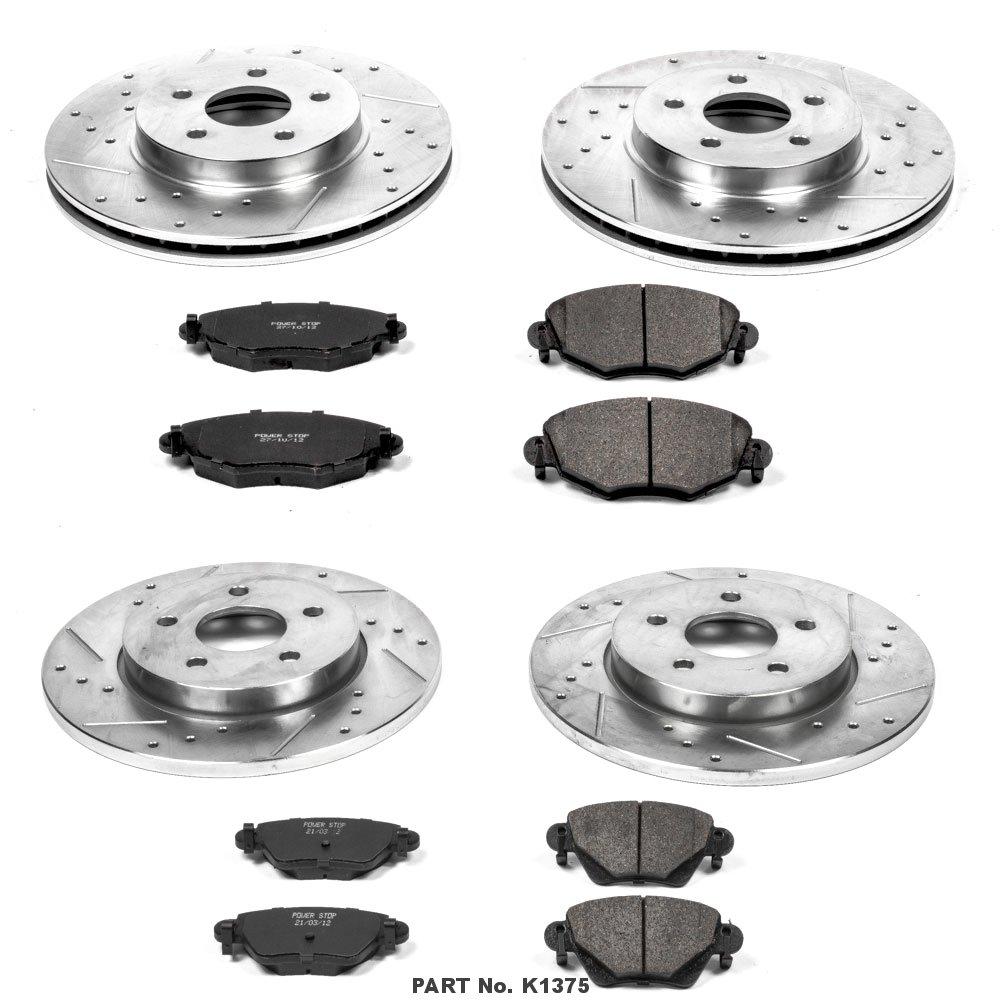 Power Stop K1375 Front /& Rear Brake Kit with Drilled//Slotted Brake Rotors and Z23 Evolution Ceramic Brake Pads