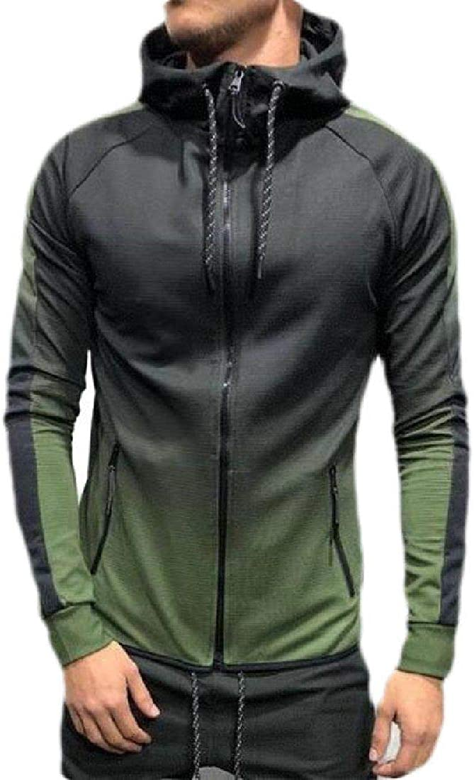 Abeaicoc Men Full-Zip Gradient Color Long Sleeve Casual Jacket Hoodies Sweatshirt
