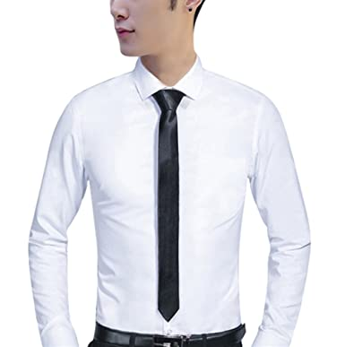 Mogu Mens White Dress Shirts Long Sleeve Slim Fit With Tie At Amazon